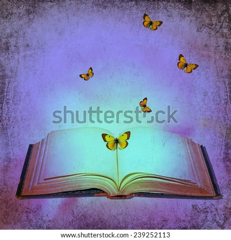 Open book and butterflies blue light textured abstract background - stock photo
