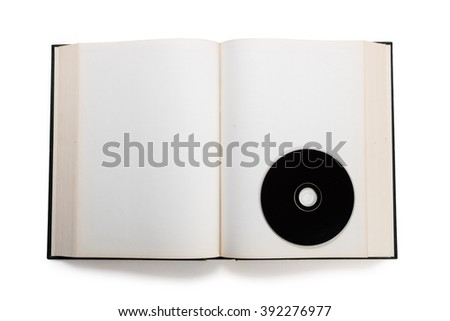 open book and compact disk,  concept of digital information. - stock photo