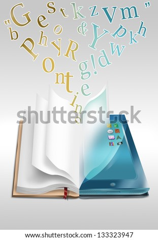 Open book and computer tablet with moving letters. Ebooks and online library concept. - stock photo
