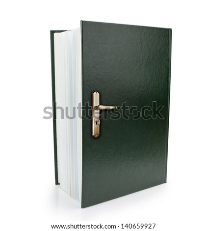 Open book and doorknob symbol of gaining knowledge and wisdom. Concept Image. - stock photo