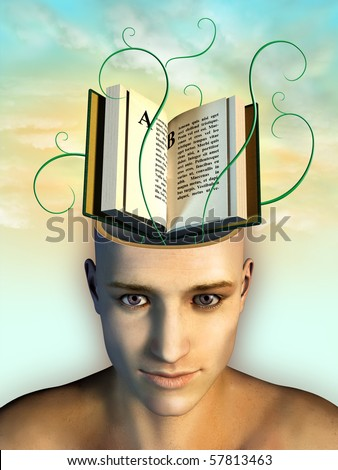 Open book as mind food. Digital illustration. - stock photo