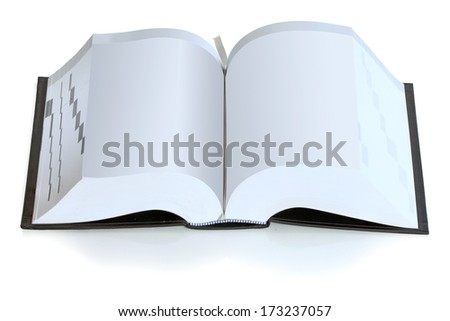 Open book big size isolated on white background - stock photo
