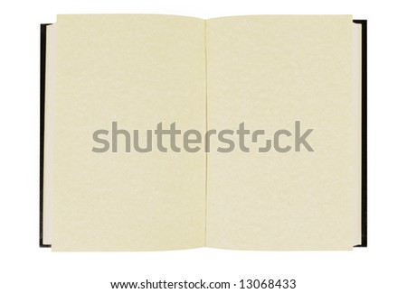 Open book :  blank hardback book with faded parchment pages isolated against white background.  Space for copy. - stock photo