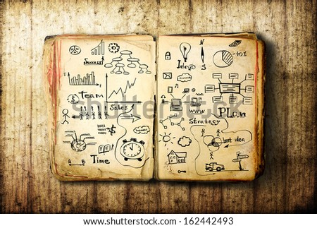 Open Book blank on old wood background. Business sketches - stock photo