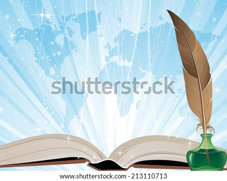 Open book, feather and  map on a blue shining background - stock photo
