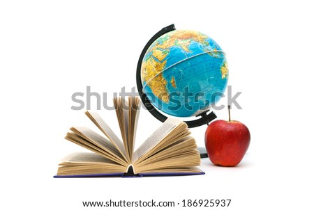open book, globe and red apple on a white background. horizontal photo. - stock photo