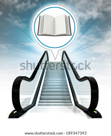 open book in bubble above escalator leading to sky concept illustration - stock photo