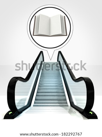 open book in bubble above escalator leading to upwards concept illustration - stock photo