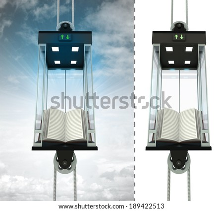 open book in sky elevator concept also isolated one illustration - stock photo