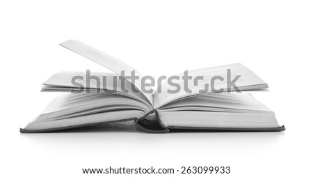 Open book, isolated on white background - stock photo