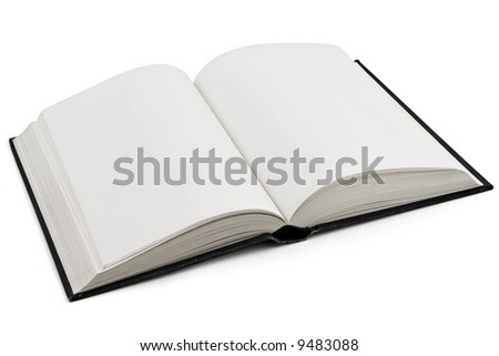 Open book isolated over a white background. Pages are blank. - stock photo