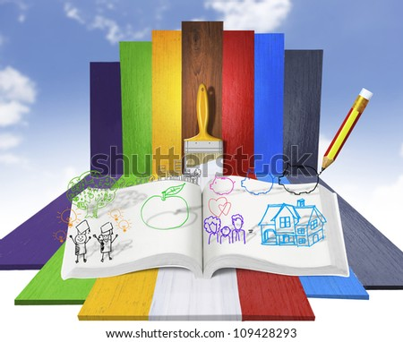 open book of fantasy stories - stock photo