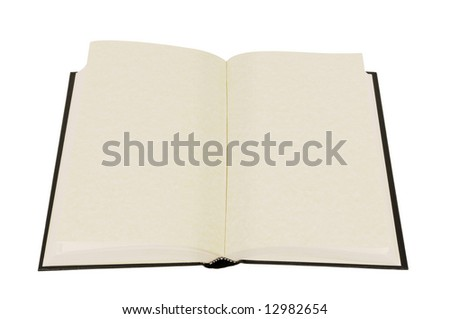 Open book : old blank hardback book with faded parchment pages isolated against white background.  Space for copy. - stock photo