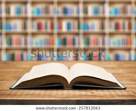 Open book on the table in shallow focus. - stock photo