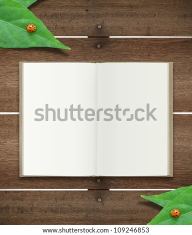 open book on wood with leaf and ladybug - stock photo