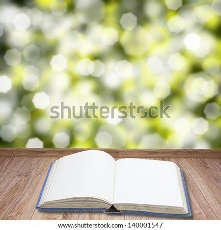Open book on wooden planks over abstract light background - stock photo
