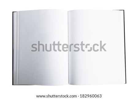 Open book or magazine, top view, isolated on white background. - stock photo