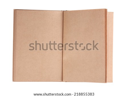 open book paper blank page rough texture on white background - stock photo