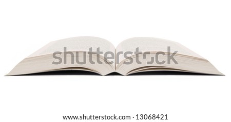 Open book set against a white background. - stock photo