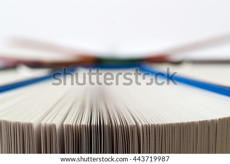 Open book, stack of hardback books. Back to school. Copy space. - stock photo