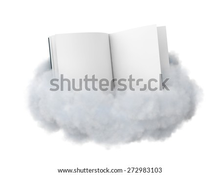 Open book  with a blank pages in a cloud isolated on white. - stock photo