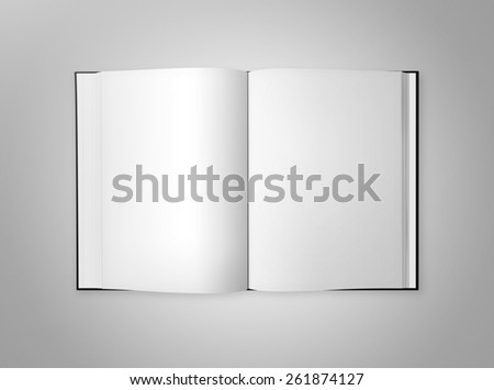 Open book with blank pages, isolated on a gray background. - stock photo