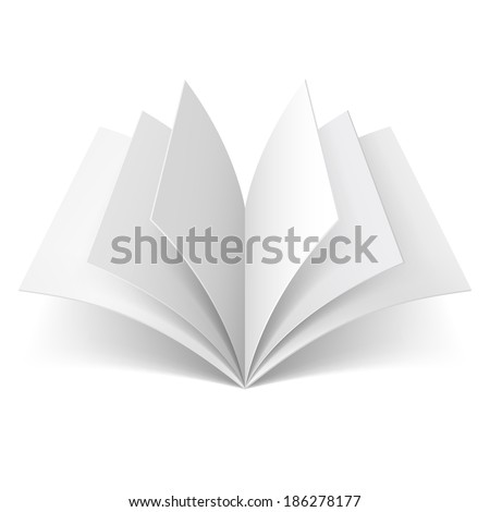Open book with blank pages isolated on white background - stock photo