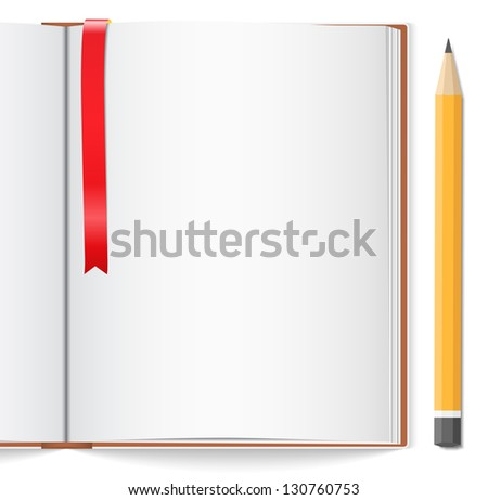 Open book with bookmark and pencil - stock photo