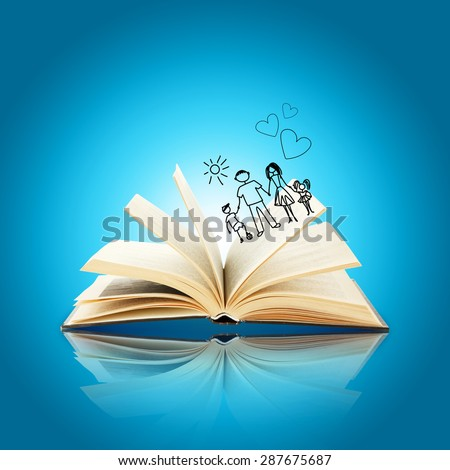 Open book with drawings on blue background - stock photo