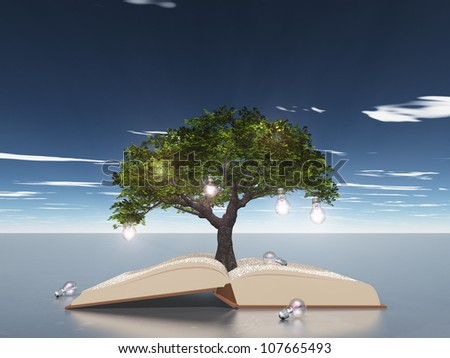 Open book with light bulb tree - stock photo