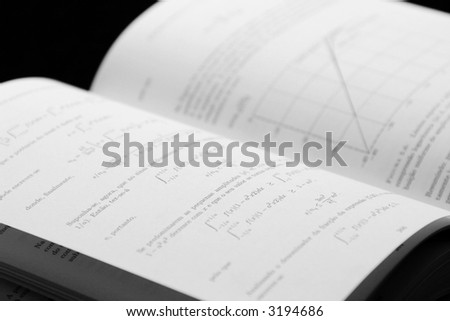 open book with maths and physics - stock photo