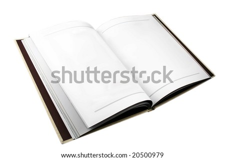 Open book with plain white pages - stock photo