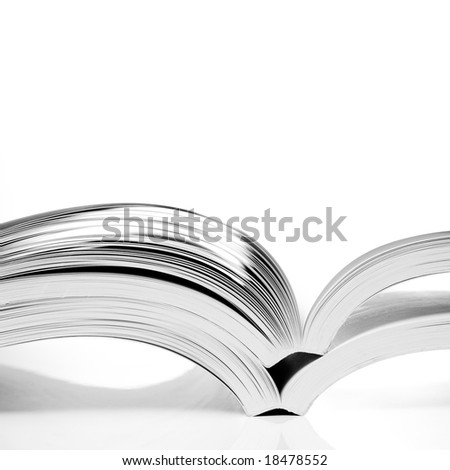 open books on white table - stock photo