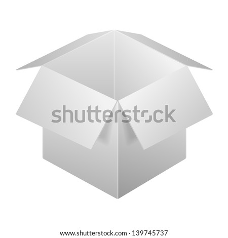 Open Box Icon, Template. Isolated On White Background. Raster Version - stock photo