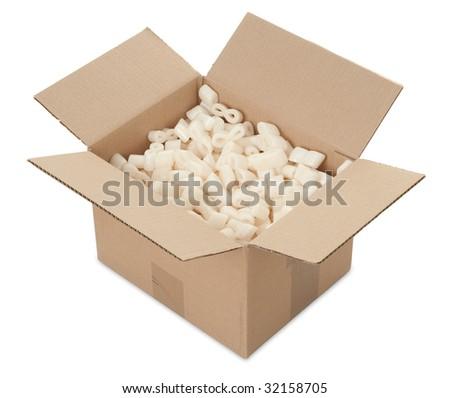 open box on a white background - stock photo