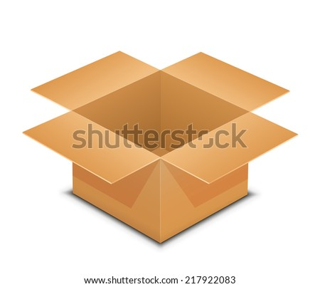 Open box. Raster illustration of cardboard box. Recycle brown paper box packaging - stock photo