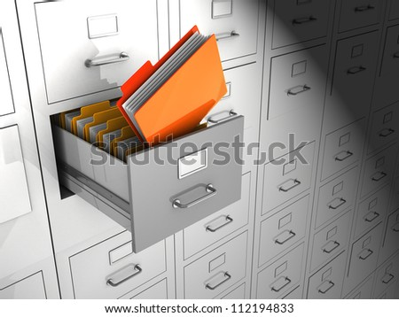 Open box with important files, 3d image - stock photo