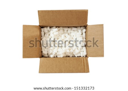 open box with packing 'peanuts' inside on the white background - stock photo