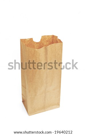 open brown bag isolated against white background - stock photo