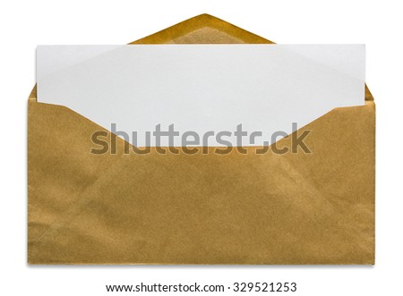 open brown envelope with blank letter isolated on white background - stock photo