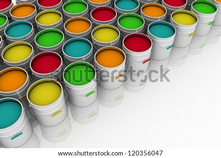 open buckets with a paint - stock photo