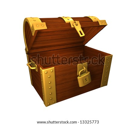 open but empty treasure chest. on white background, easy to isolate.check my portfolio for open chests. - stock photo