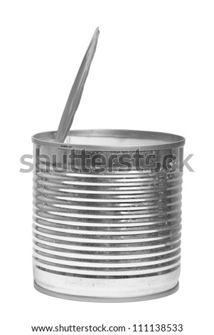 Open can isolated on white background - stock photo