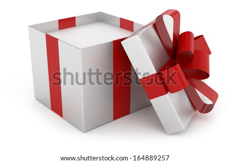 Open cap of silver gift box - stock photo