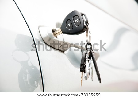Open car door by key - stock photo