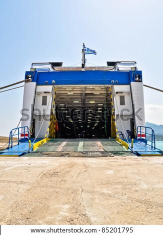 Open car ferry ramp. Port of Zakynthos. Ionian Islands, Greece. - stock photo