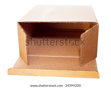 Open cardboard box isolated on white background. - stock photo