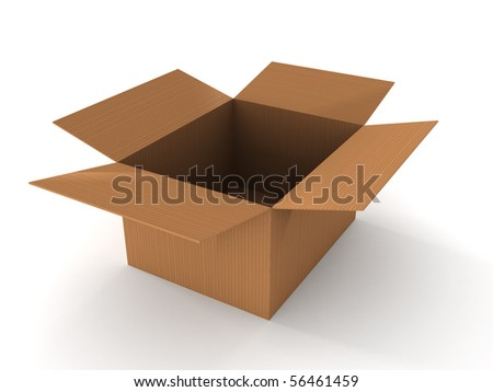 Open cardboard box isolated on white background. High quality 3d render. - stock photo
