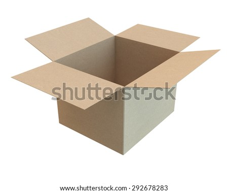 open cardboard box of the recycled paper, side view - stock photo