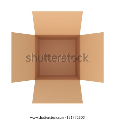 open cardboard box top view - stock photo